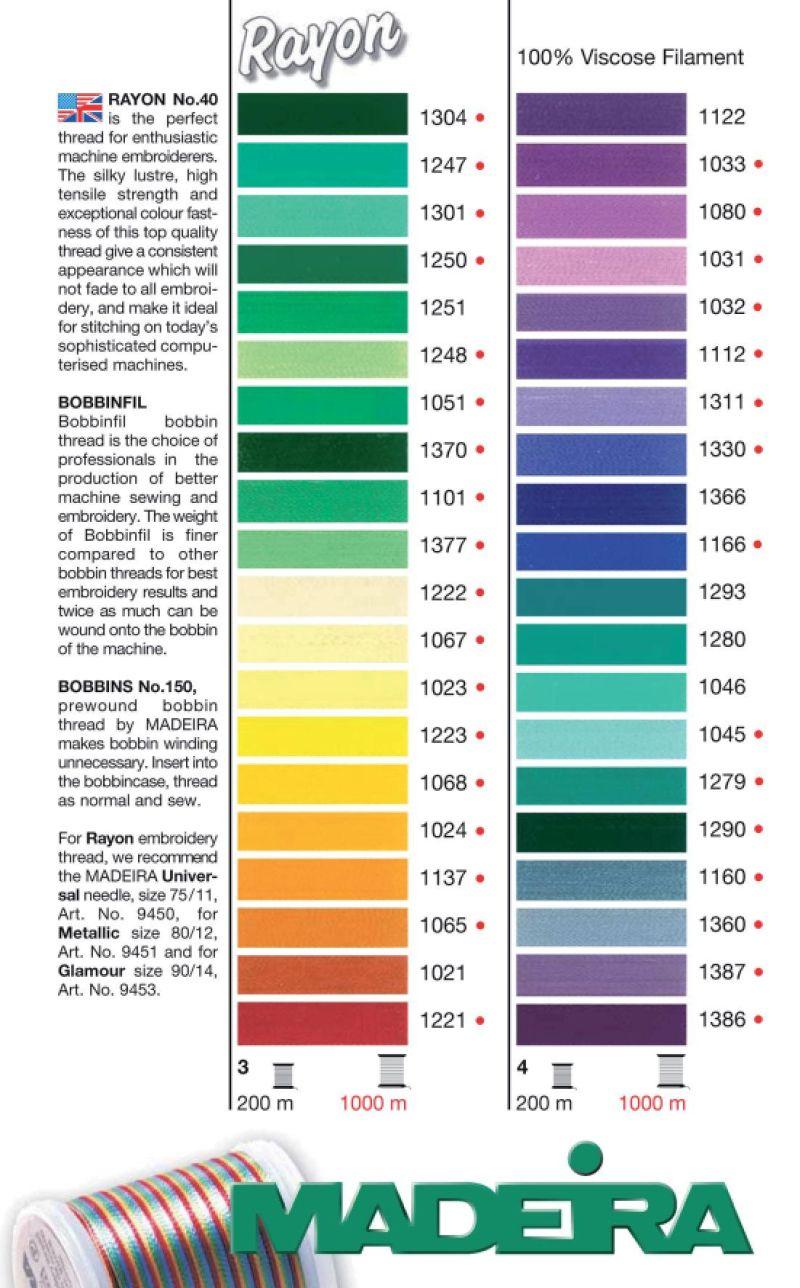 madeira rayon 40 thread colour chart - Madeira Color Chart