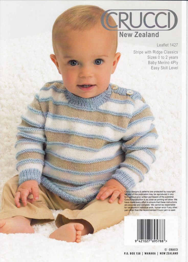 Crucci Pattern 1427, Baby Cardigan or Sweater, Modern Classic, Sizes ...