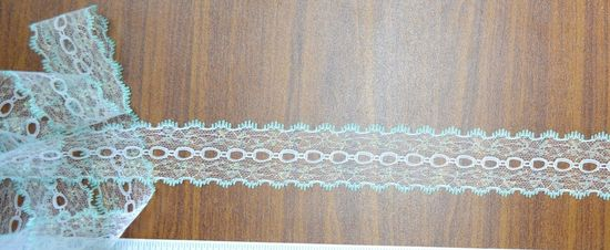 MINT WHITE Per 10 metre length Iridescent Feather Edge Eyelet Lace 37mm