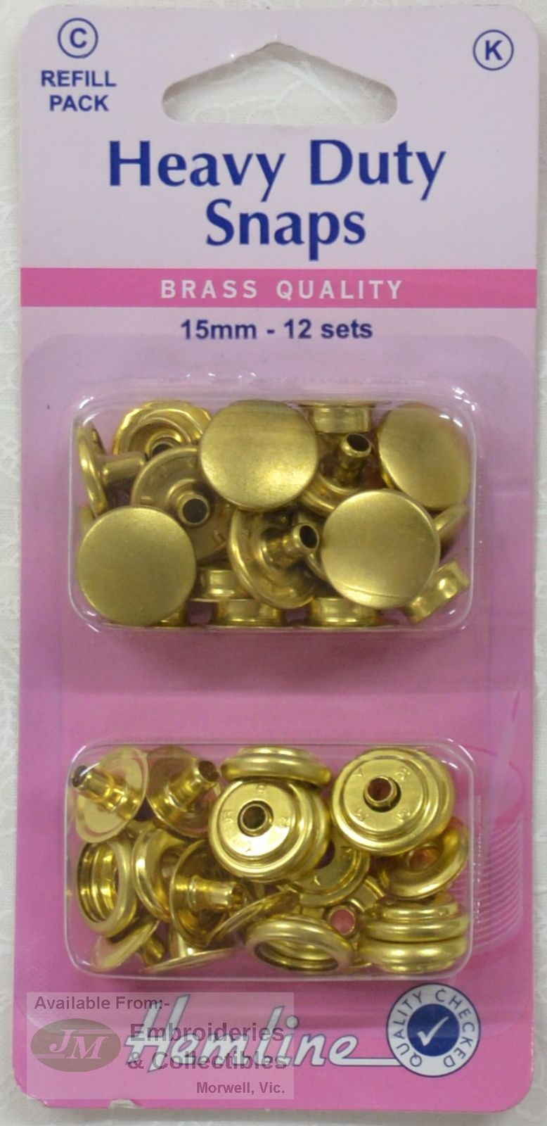 GOLD Colour 15mm 12 Sets Brass Quality Hemline Heavy Duty Snaps Refill Pack