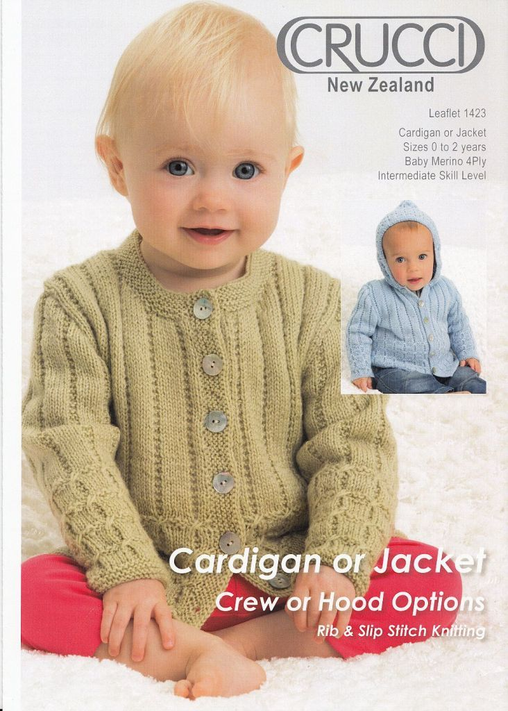 Crucci Pattern 1423 Baby Cardigan Or Jacket Crew Or Hood Option