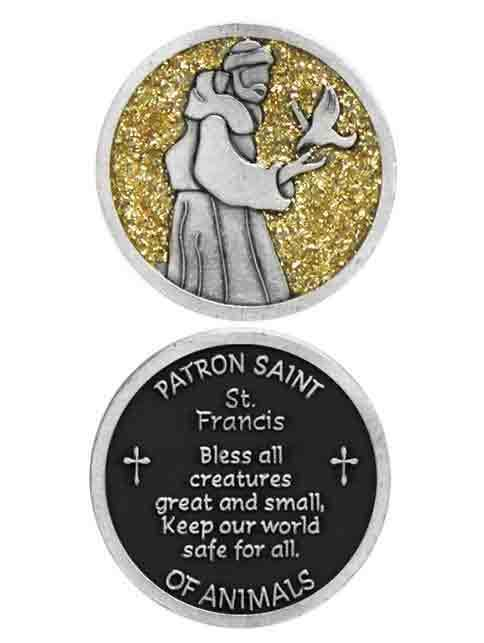 COMPANION COIN, SAINT FRANCIS, PATRON SAINT OF ANIMALS, Pocket Token With  Message, Prayer or Reading