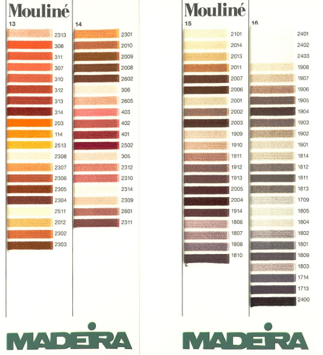 Maderia Mouline Stranded Cotton Hand Embroidery Thread Colour Chart Page 4