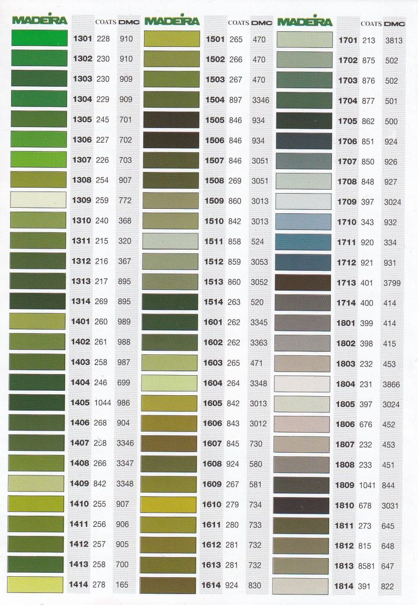 Maderia Mouline Stranded Cotton Hand Embroidery Thread Colour Conversion Chart Page 1