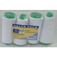 Birch 4 Pack WHITE Overlocker Thread 2000m each Cone, 100% Polyester