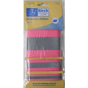 Birch Iron On Reflective Ribbon, Hi Vis Tape PINK, 50, 19 & 10mm, 91.4cm each