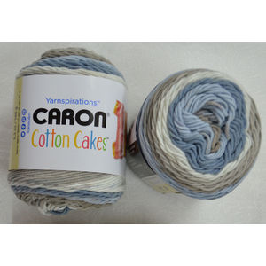 Caron Cotton Cakes, Medium Weight Cotton Blend Yarn, 100g Ball, NESTED BLUES