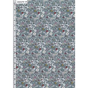 Liberty Fabrics Tana Lawn JUNE'S MEADOW (F) Grey 100% Cotton 136cm Wide