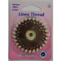 Hemline Linen Thread 20metres BROWN, 100% Linen For Saddlery Canvas Upholstery Etc.