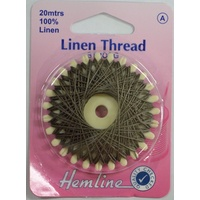 Hemline Linen Thread 20metres KHAKI, 100% Linen For Saddlery Canvas Upholstery Etc.