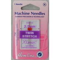 Machine Needles, TWIN STRETCH Size 2.5mm, 80/12, Pack of 1 Needle
