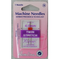 Machine Needles, TWIN STRETCH Size 4.0mm, 80/12, Pack of 1 Needle