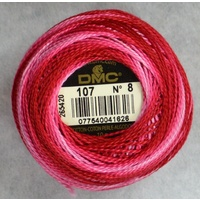 DMC Perle Cotton No.8 Ball, #107 VARIEGATED CARNATION, 10g, 80m