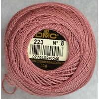 DMC Perle 8 Cotton #223 LIGHT SHELL PINK 10g Ball 80m