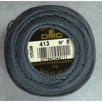 DMC Perle 8 Cotton #413 DARK PEWTER GREY 10g Ball 80m