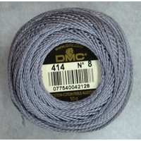 DMC Perle 8 Cotton #414 DARK STEEL GREY 10g Ball 80m