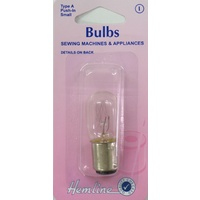 Sewing Machine & Appliance Bulb, 20x48mm, SBC Bayonet Small, 15W, 240V, Type A