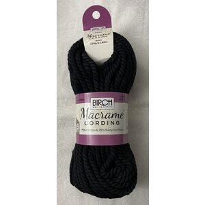Birch Macrame Cording 4mm BLACK 228G, 22.86m Skein