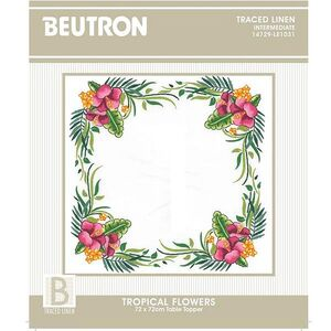 Beutron TROPICAL FLOWERS 72x72cm Table Topper Embroidery Kit #14729-LE1031