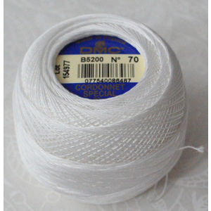 DMC Cordonnet Special, 6 Cord Crochet Cotton, Size 70, 20g Ball, B5200 SNOW WHITE