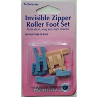 Hemline Invisible Zipper Roller Foot Set, Low Slant, High Shank or Clip, 5 Piece Set