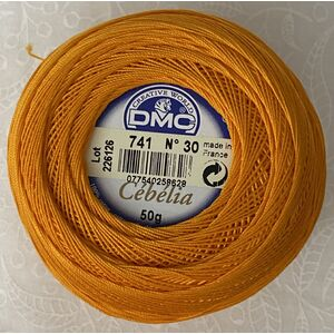 DMC Cebelia 30, #741 Medium Tangerine, Combed Cotton Crochet Thread 50g