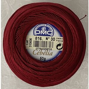 DMC Cebelia 30, #816 Garnet, Combed Cotton Crochet Thread 50g