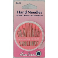 Sewing Needle Assortment Compact, 30 Assorted Needles, Hemline Quality Needles