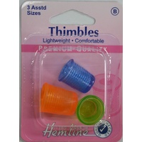 Hemline Thimbles, 3 Lightweight, Pliable & Comfortable Thimbles, Assorted Sizes.