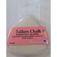 Hemline Tailors Chalk, Claybased Triangular Tablet Markers in 3 Colours