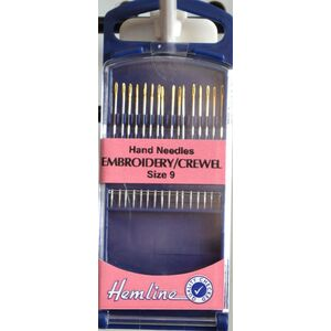 Hemline Premium Embroidery / Crewel Needles, Gold Eye Size 9, Pack of 16 needles