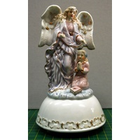 Musical Porcelain Guardian Angel With Girl 160 x 90mm, Plays Music After Winding, Boxed