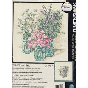 Dimensions WILDFLOWER TRIO Counted Cross Stitch Kit 28 x 30cm #35122