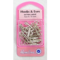 Hemline Rustproof Brass Hooks & Eyes Extra Large Size 9, 10 Sets, Silver Colour