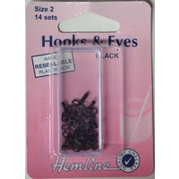 Hemline Rustproof Brass Hooks & Eyes, Black, Size 2, 14 Sets