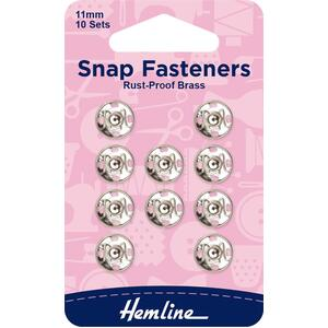 Hemline Metal Snap Fasteners, Nickle Colour, 11mm Dia., 10 Sets, Sew-In