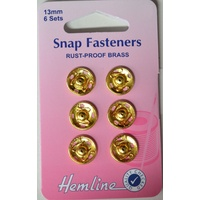 Metal Snap Fasteners, GOLD, 13mm Dia., 6 Sets Sew-In, By Hemline