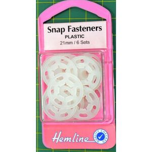Hemline Extra Large Snap Fasteners, Large 21mm Size, 6 Sets Plastic