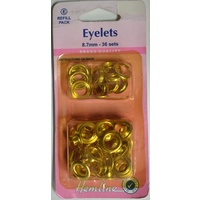 Hemline Eyelets Rust Proof Brass REFILL, 8.7mm, 36 Sets GOLD Colour