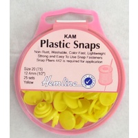 Hemline Kam Plastic Snaps, Size 20 (T5) 12.5mm, YELLOW, Washable Non Rust