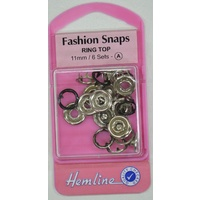 Hemline Fashion Snaps Ring TopP 11mm, 6 Sets, BLACK Colour Ring