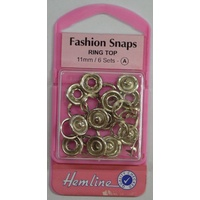 Hemline Fashion Snaps Ring Top 11mm, 6 Sets, SILVER Colour Ring