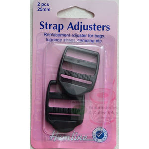 Hemline Strap Adjusters 25mm x 2pcs For Bags, Luggage Straps, Camping etc.