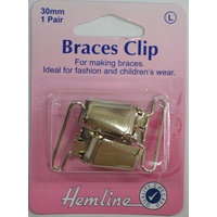 Hemline Braces Clips, 30mm, 2pcs, NICKLE Colour, For Braces, Fashion, Childrens Wear
