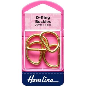 Hemline D Ring Buckles, 20mm, 4 Pcs, Gold Colour, For bags, Straps, Garments