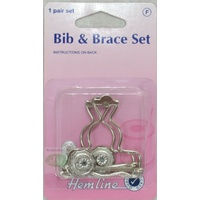 Hemline Bib & Brace Set, 1 Pair Set, Nickle Colour, Instructions On Pack