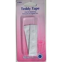 Hemline Teddy Tape White, Use For Fastening Bodysuits, Lingerie Etc, 2 Sets