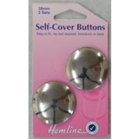 Hemline Self Cover Buttons 38mm, 2 Sets, Easy to Fit No Tools Required