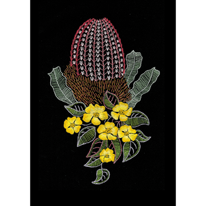 Banksia & Guinea Flowers Traced Linen Embroidery Kit 20 x 29cm, 587100