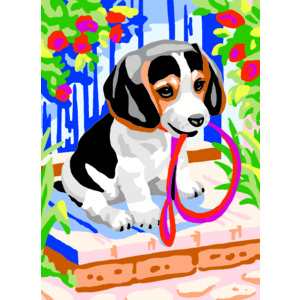 Collection D' Art Tapestry Kit, PUP WITH LEAD, 22cm x 30cm (#6.309K)